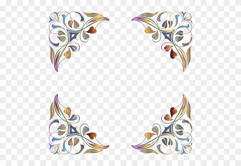 Vector Image Of Floral Decorations - Flourish Frame Floral Design Frame Png #935542