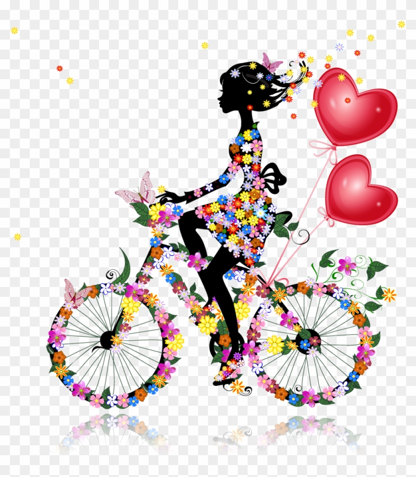 Valentine Balloons ~ Floral Girl On Bicycle Silhouette - Unique Bargains Unique Bargainswall Switch Sticker #935579