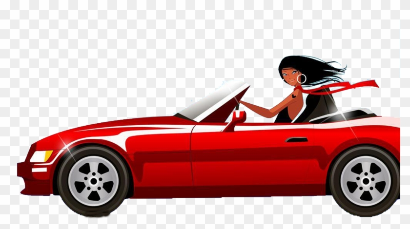 Woman Driving Royalty Free Clip Art Girl And Car Cartoon Png