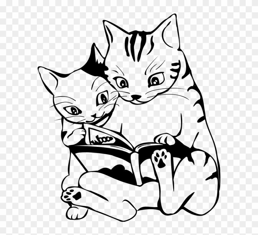 Cartoon Animals To Draw 7 Buy Clip Art Cats Reading Black And
