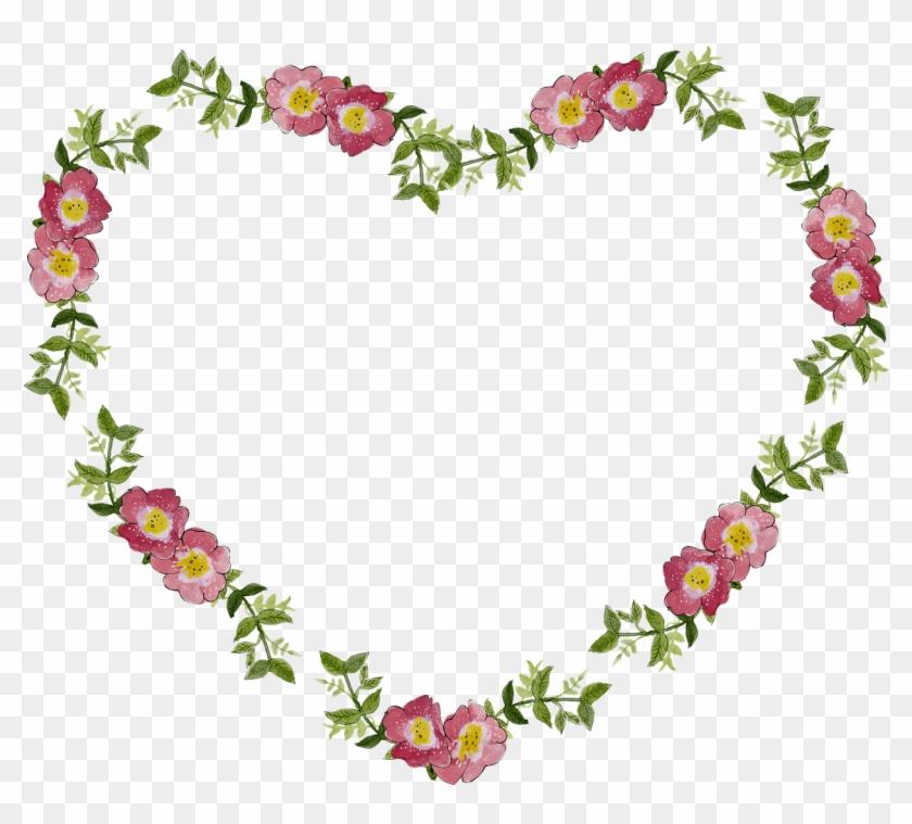 Floral Flower Frame Heart Png Image - Flower Heart Frame Png - Free ...