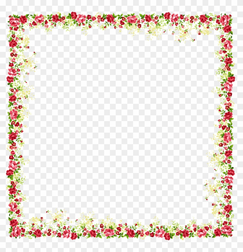 Borders And Frames Picture Frame Flower Clip Art - Flower And ...