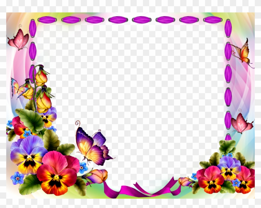 Download Red Flower Frame Transparent Background For - Flower And Butterfly Frame #936737