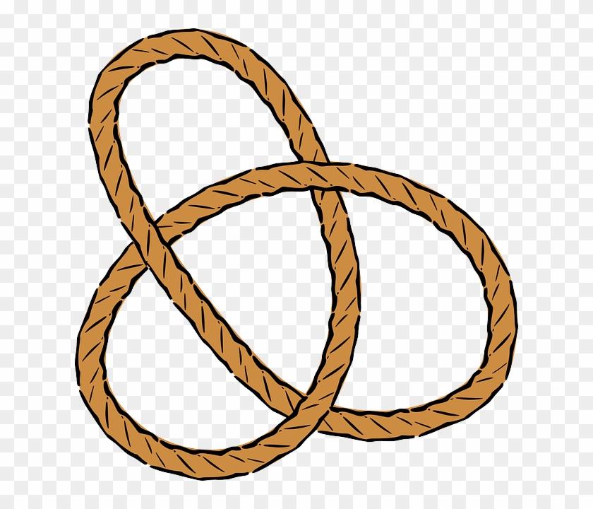 Trinity Knot, Pretzel, Trefoil, Line, Rope, Knots, - Rope Clipart #937606