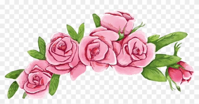Beach Rose Flower Wreath Euclidean Vector - Flower Crown Vector Png #938552