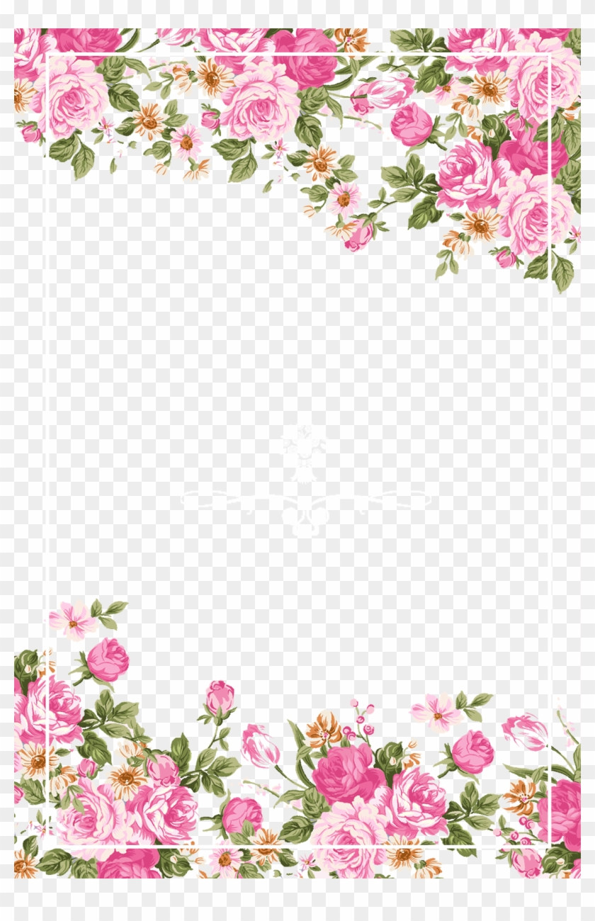 Wedding Invitation Paper Flower Rose Pink - Pink Rose Border #939993