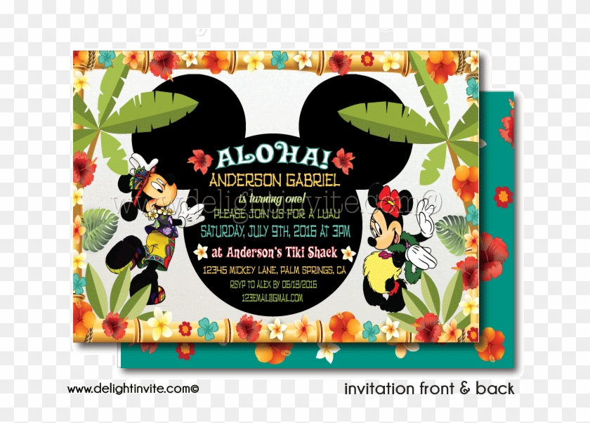 Mickey And Minnie Hawaiian Luau Party Thank You Cards Minnie And