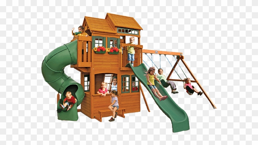 Shelbyville Retreat Deluxe By Cedar Summit - Big Backyard Shelbyville Deluxe Wooden Swing Set #943792