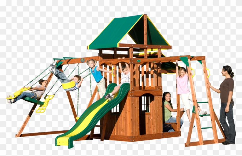 The Meridian Backyard Swing Set Comes Equipped With - Playsets Meridian Wooden Swing Set #944003