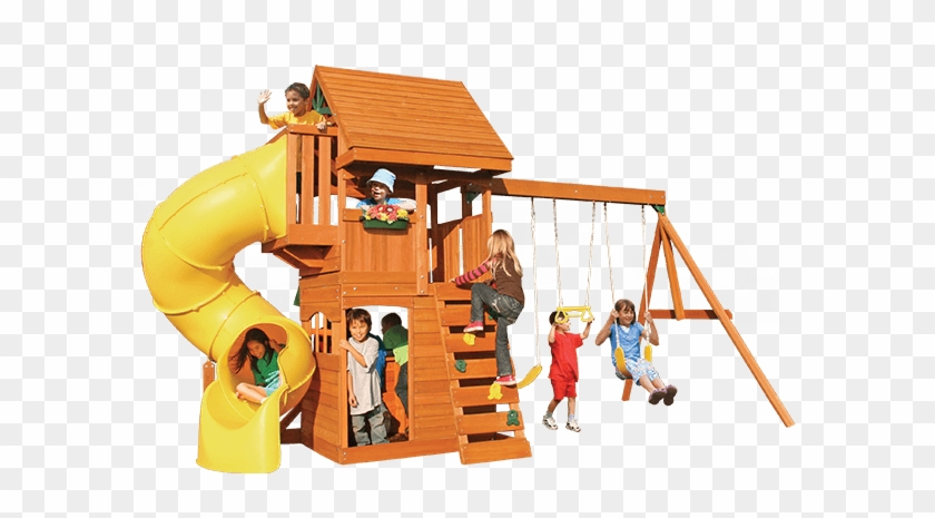 Fancy Cedar Summit Playset Made Of Wood In Double Tier Grandview