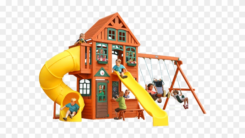 New Twin Mountain Lodge Play System Wood Swing Set Cedar Summit