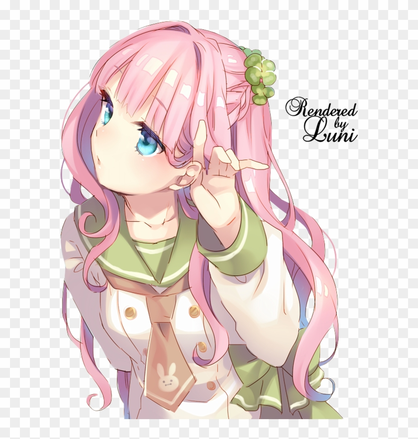 girl with blue eyes by lunixxa anime girls with pink hair and blue