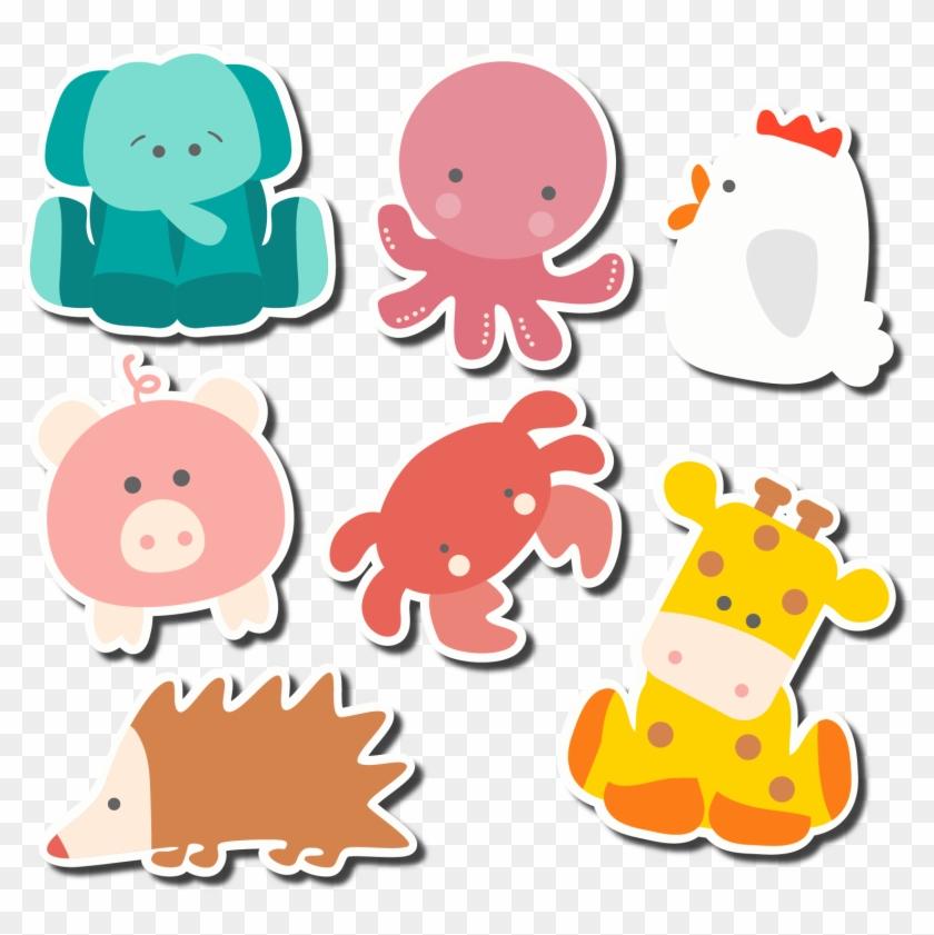 Animal Cartoon Clip Art Seven Cute Animal Stickers - Cute Animal Stickers Vector #946355