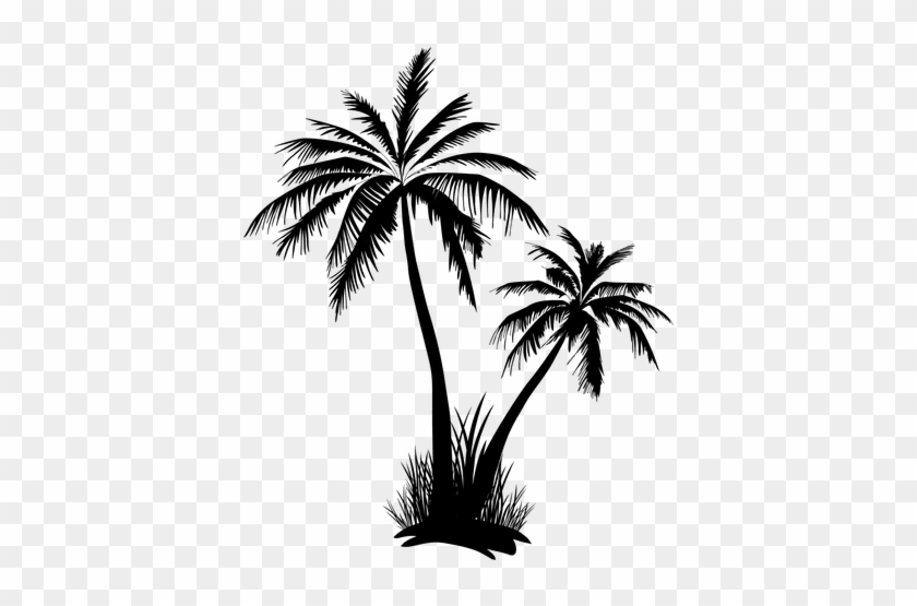 Two Palm Tree And Grass Silhouette - Palm Tree Silhouette Transparent #946607
