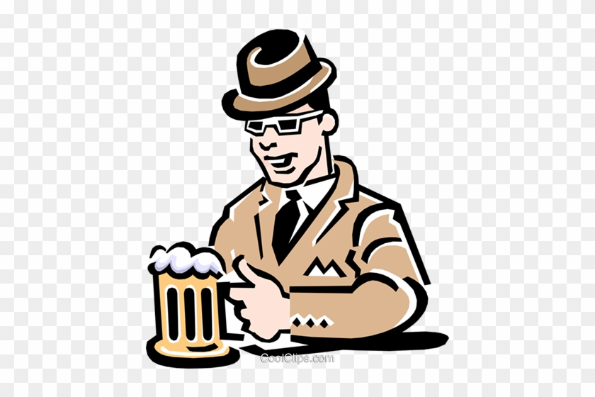 Man Having A Beer At The Pub Royalty Free Vector Clip Desenho De