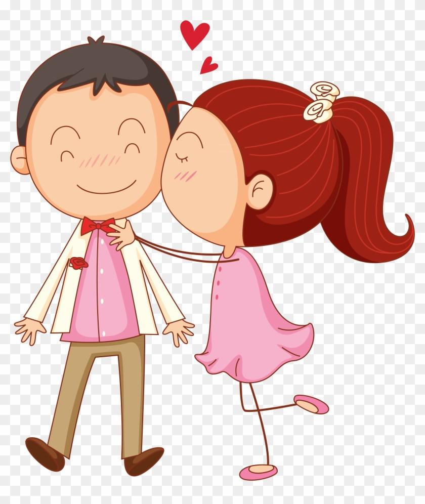 Kiss Cartoon Clip Art - Couple In Love Clipart - Free