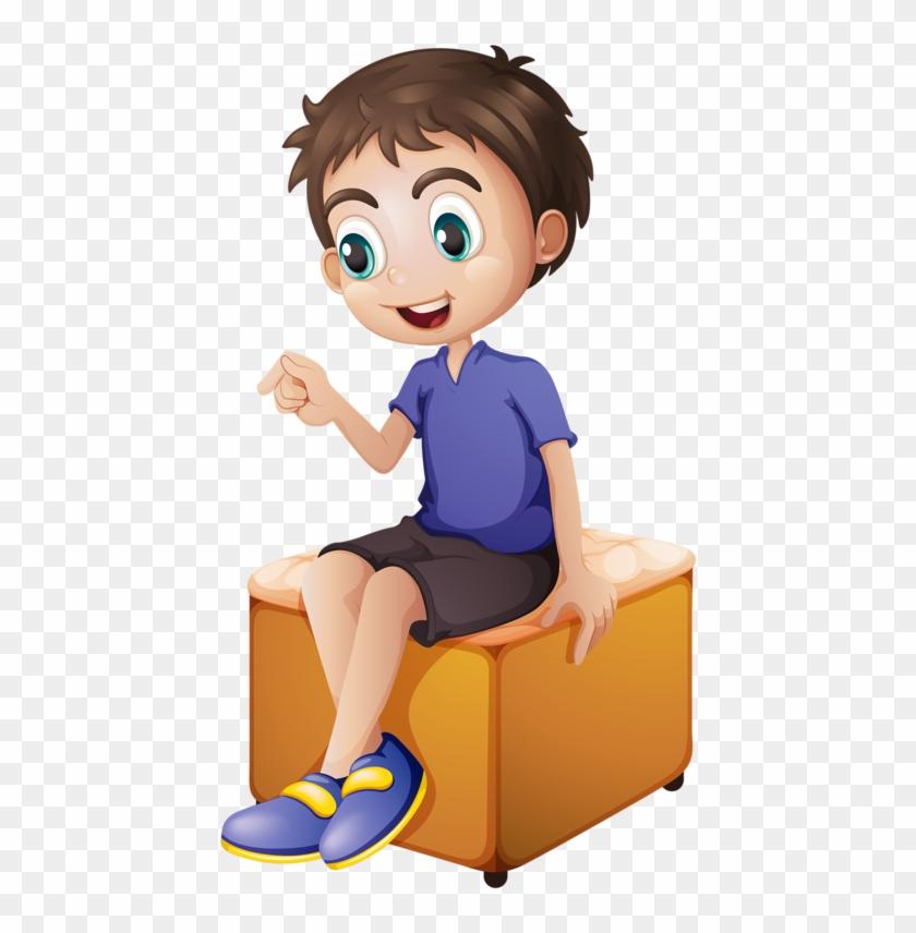 Digital Paintingsninos Animeclip Artclay Cartoon Boy Sitting In - Cartoon-boy-images-free