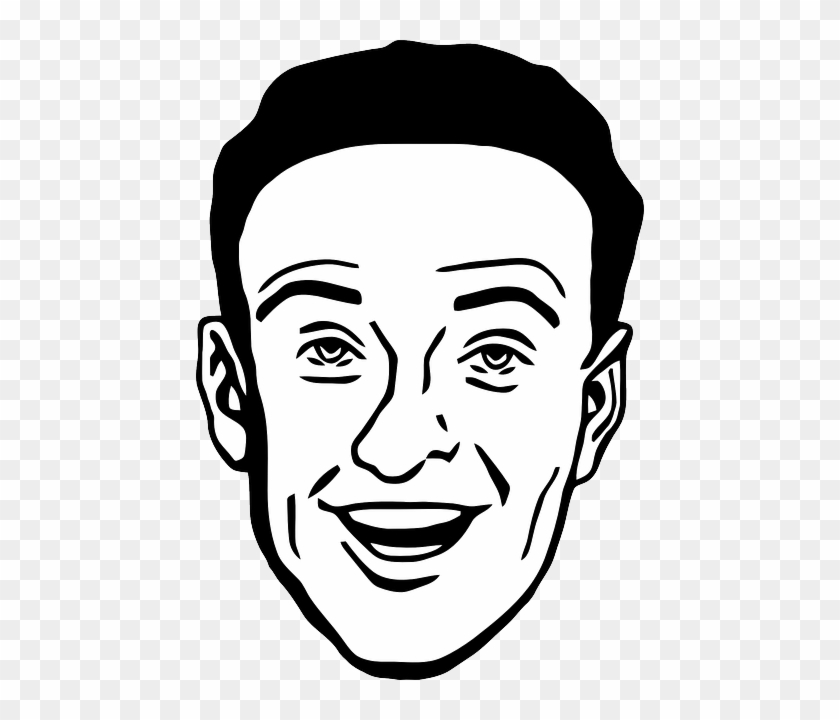 Face, Male, Man, Smile, Smiling, Happy, Eyes, Nose - Man Face Clipart Black And White #949609