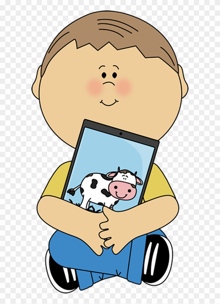 Kid Sitting With A Tablet - Clip Art Children On Ipad #170589