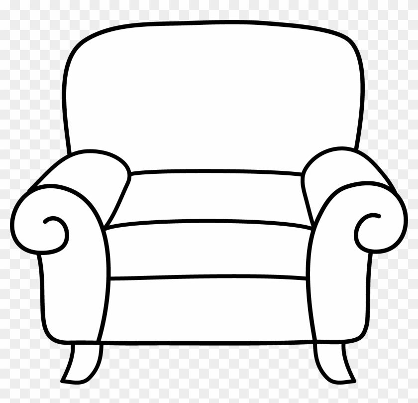 Sofa Clipart Black And White - Couch Coloring Page #170867