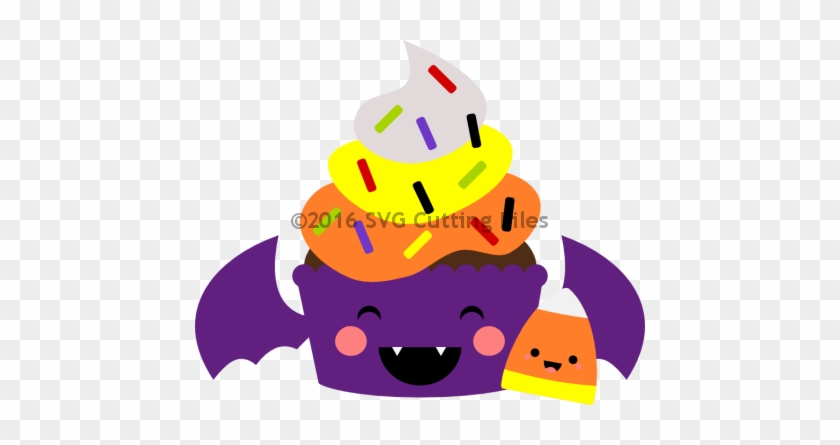 Kawaii Bat Candy Corn Cupcake - Candy Corn #170879