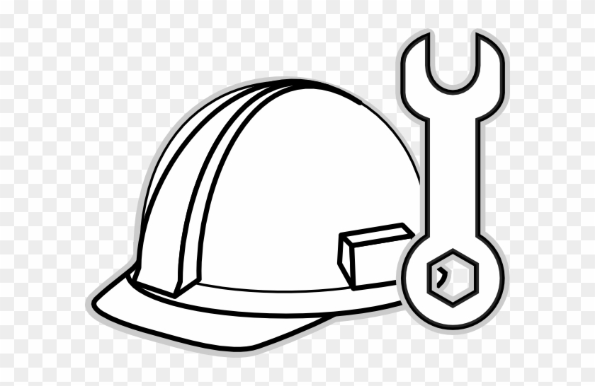 Construction Clipart Black And White Gallery For Hard - Draw A Construction Hat #170885