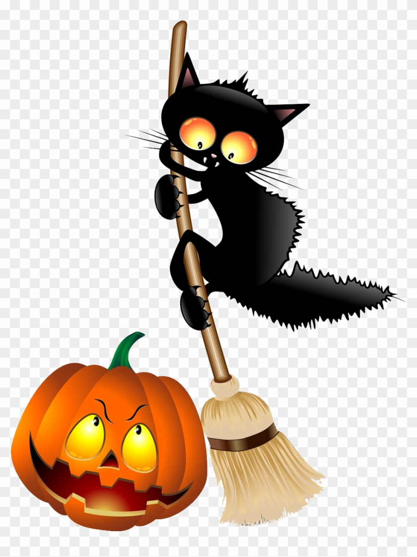 Illustration Of Halloween Cat Cartoon On Witch Broom - Best Gift - Limited Edition Halloween Coming Soon Hoodie/t-shirt/mug #171020