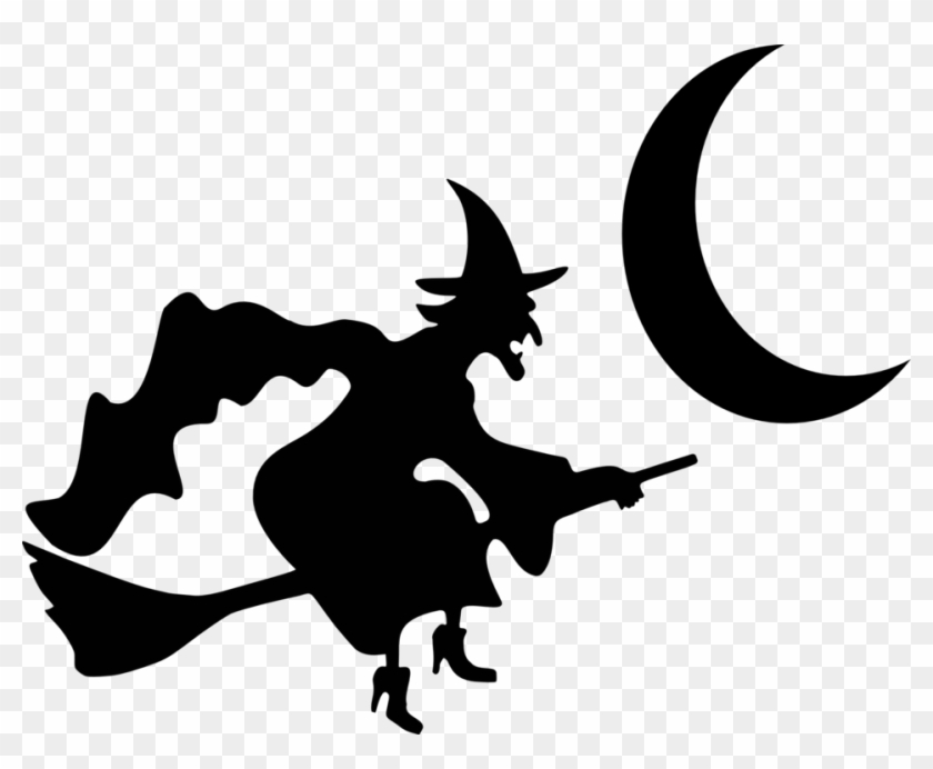 Illustration Of A Witch Silhouette - Witch On A Broom #171117