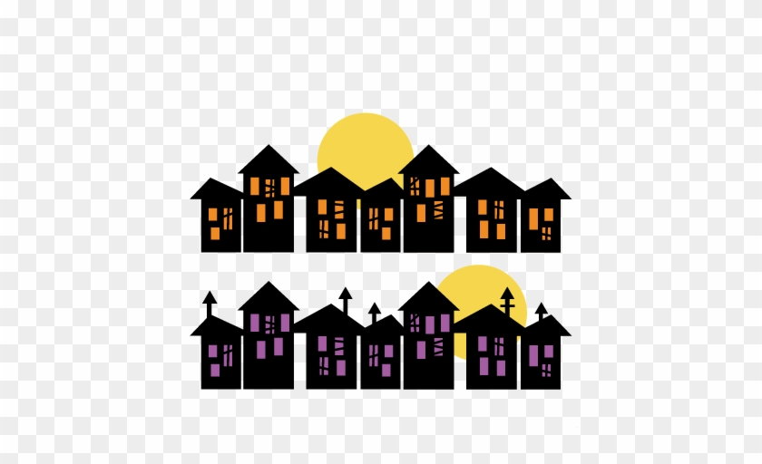 Halloween Houses Svg Scrapbook Title Svg Cutting Files - Houses Svg #171124