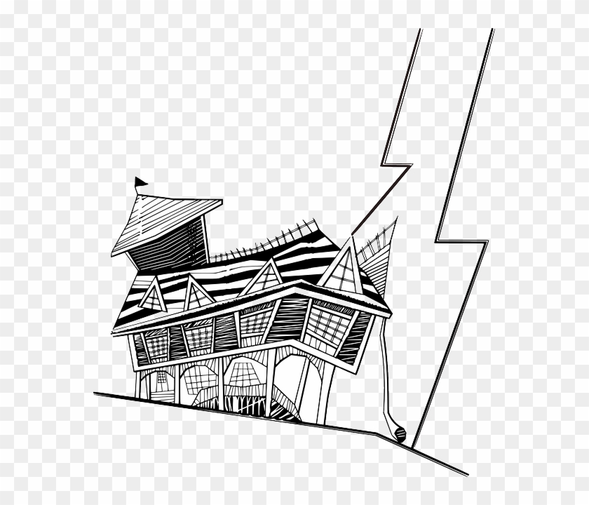 Lightning Haunted, House, Building, Spooky, Halloween, - Crooked House Clipart #171149