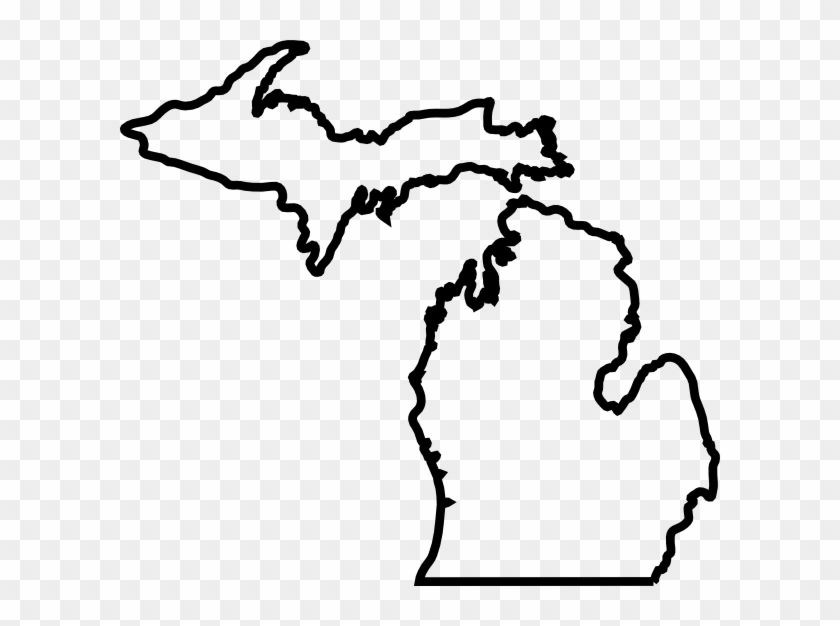 Michigan Map Outline Clip Art - Blank Map Of Michigan #171187