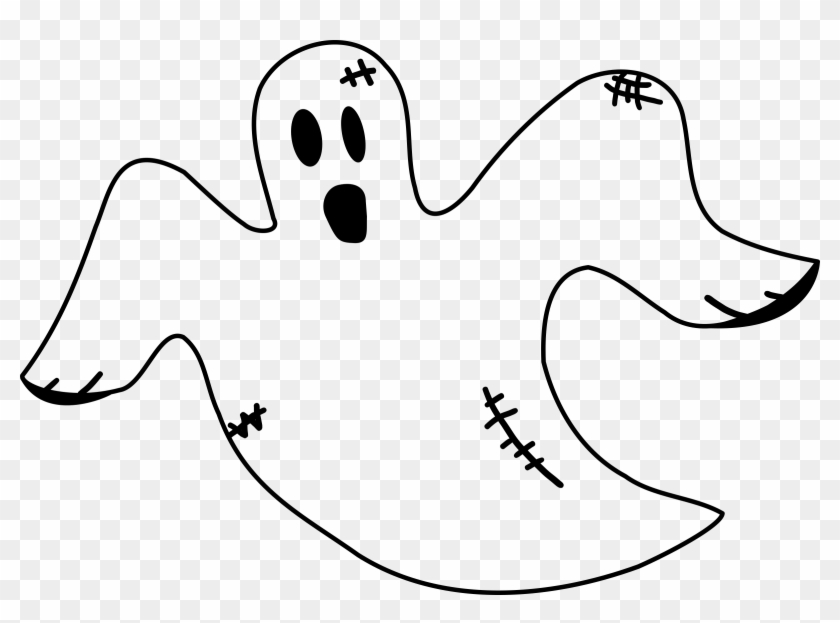 Stitched Ghost Clipart, Vector Clip Art Online, Royalty - Ghost Black And White #171234