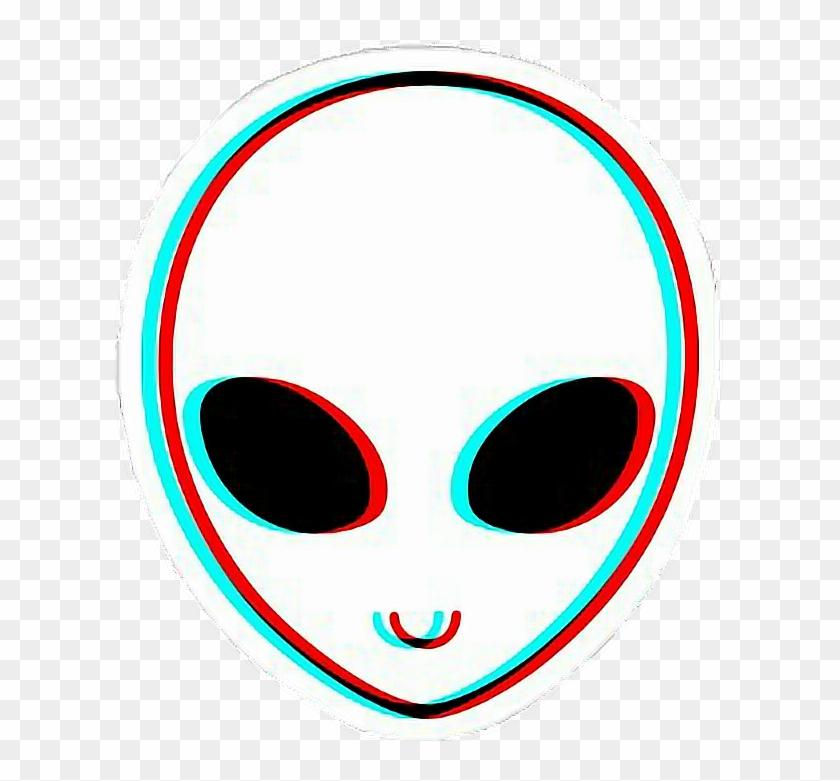 Ftestickers Alien Glitch White Colors Blue Ufo Red - Trippy Aliens #171340