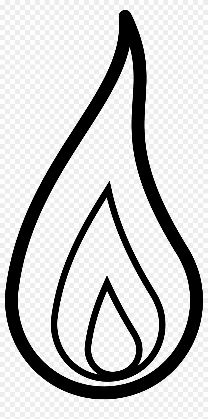 flame black white line clipart - flame clipart black and white