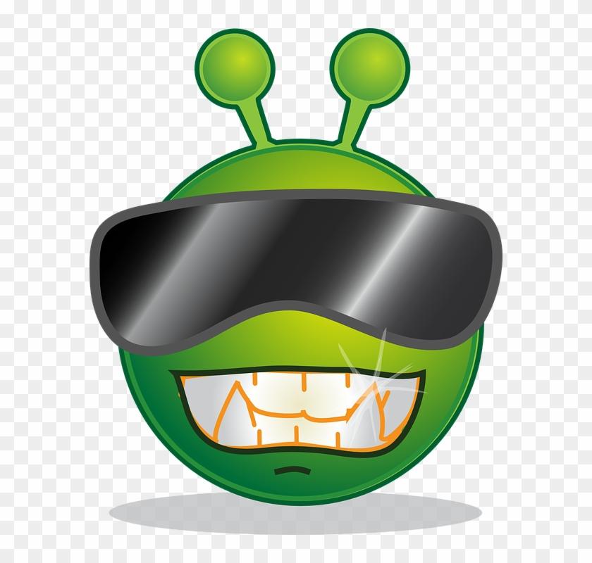 Cool Green, Alien, Face, Cartoon, Smilies, Smiley, - Smiley Alien #171610