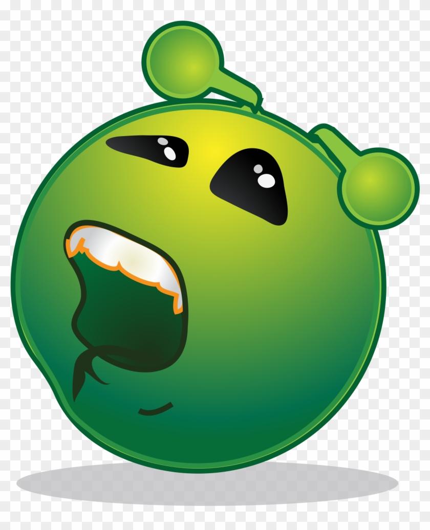 Smiley Green Alien Bored - Sad Alien Clipart #171632