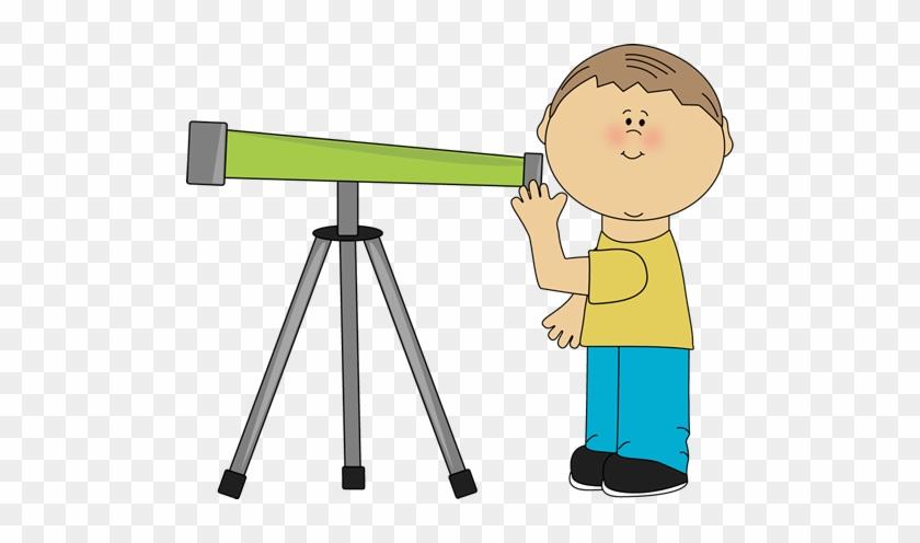 Boy Looking Through A Telescope - Looking Through Telescope Clipart #171727