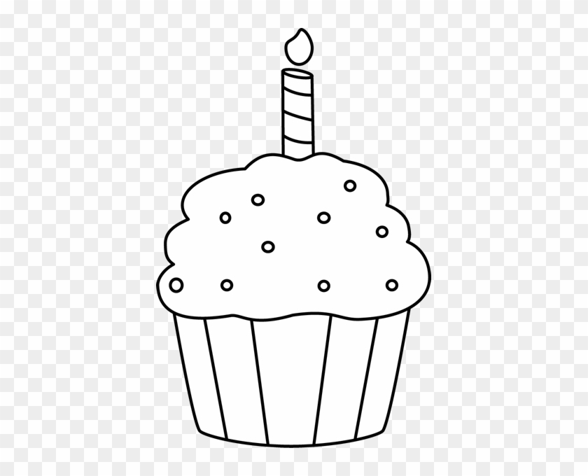Black And White Birthday Cupcake Clip Art - Birthday Cupcake Clip Art Black And White #171889