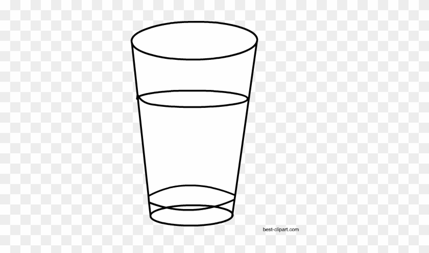 Black And White Glass Of Water Clip Art - White #171962