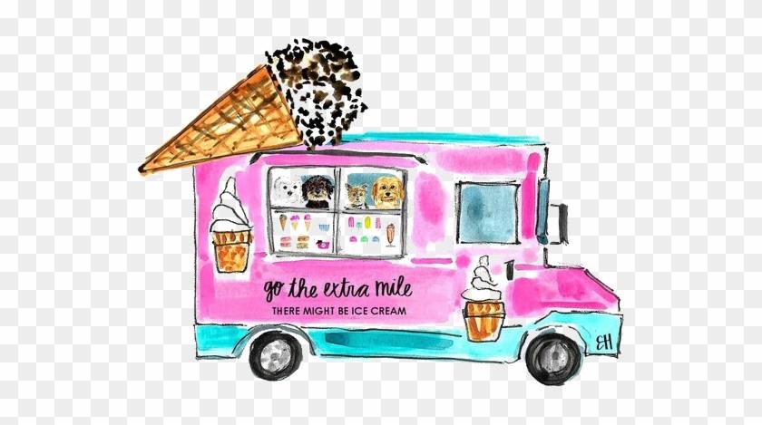 Ice Cream Food Truck Cartoon Illustration - Food Stalls Vector Free #172028