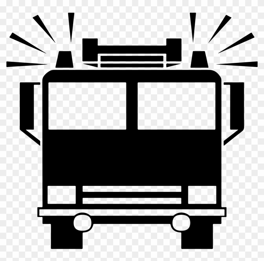 Truck Black And White Fire Truck Clipart Black And - Fire Truck Icon #172086