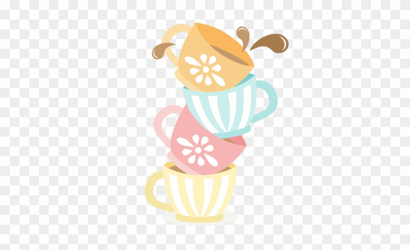 Tea Cups Stacked Svg Cutting Files For Scrapbooking - Stacked Tea Cup Clip Art #172396