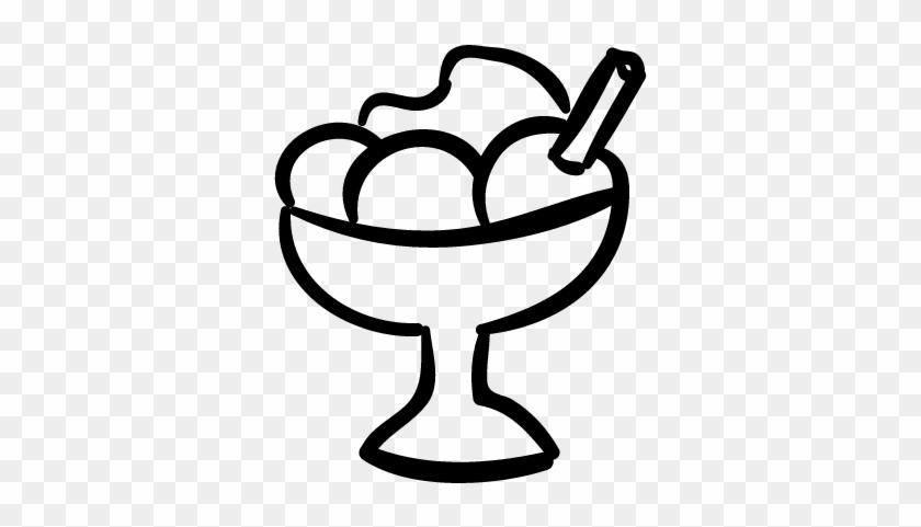Ice Cream Hand Drawn Dessert Cup Vector - Ice Cream Dessert Icon #172641