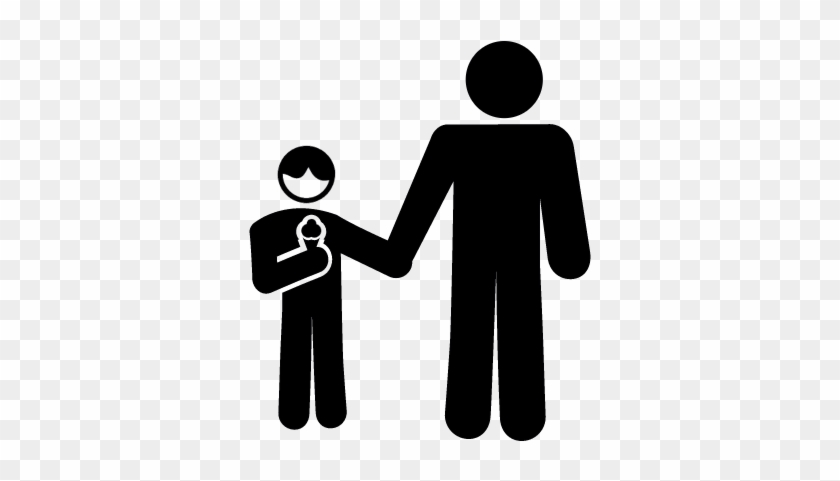 Father And Son Eating An Ice Cream Vector - Eating Ice Cream Icon #172815
