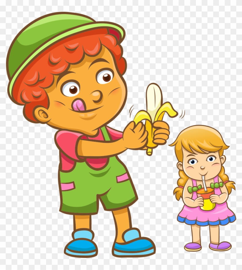 Juice Child Eating Cartoon Illustration - Cute Girl Cartoon Drinking #173200