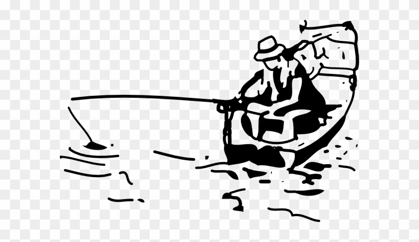 Free Boat Clipart Black And White Image - Fishing Black And White #173789