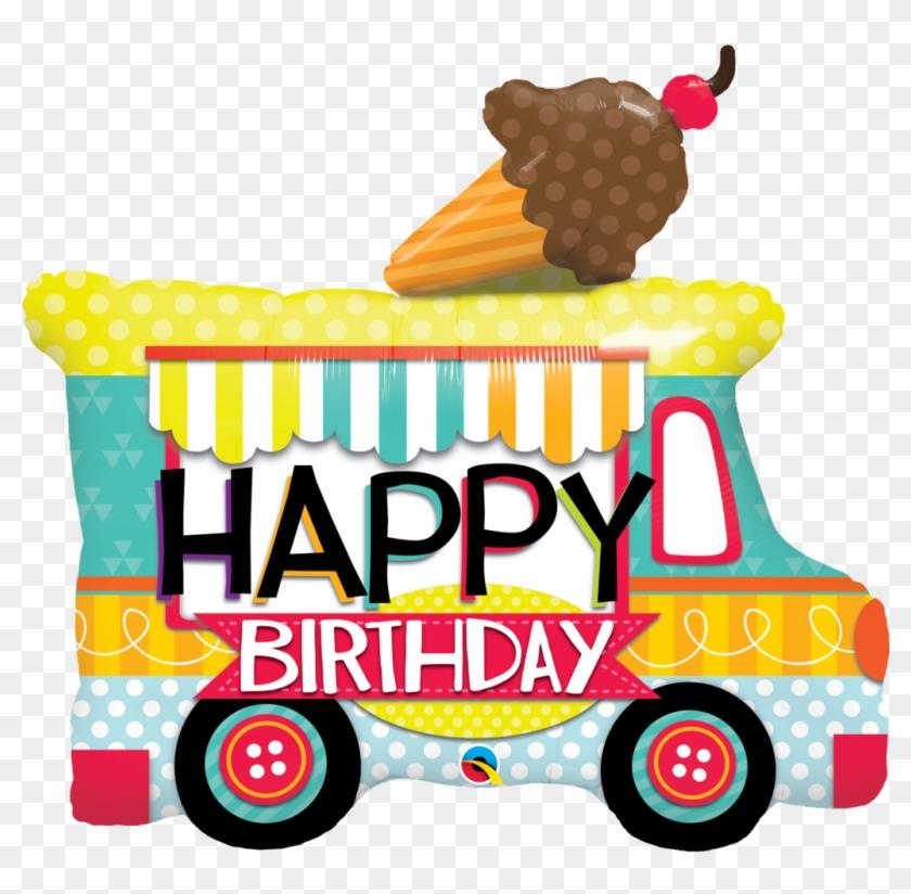 Adorable Ice Cream Truck Shaped Birthday Balloon - Happy Birthday Ice Cream #173868