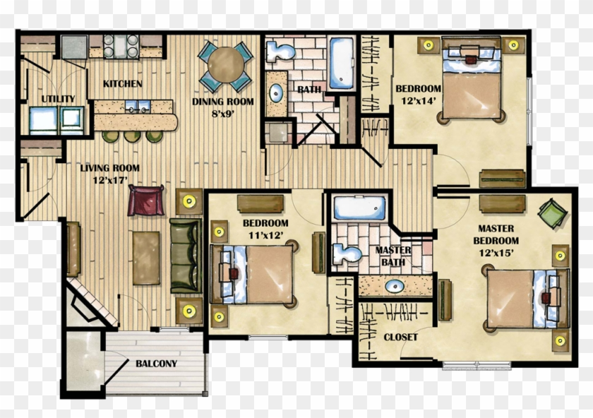 28 Collection Of Luxury Apartment Drawing 3 Bedroom Apartment