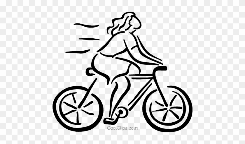 Woman On Her Bike Royalty Free Vector Clip Art Illustration