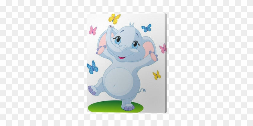 Baby Elephant Dancing With Butterflies Canvas Print - Cute Baby Elephant Cartoon #954864